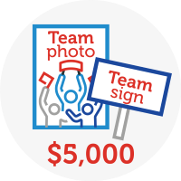 Team photo & Team sign - $5,000 Raised